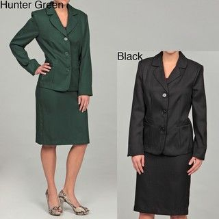 DS Studio Womens Herringbone Three button Skirt Suit