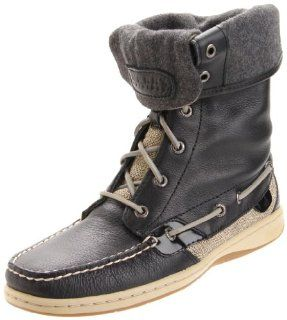 Sperry Top Sider Womens Ladyfish Lace Up Boot,Black,9 M US Shoes