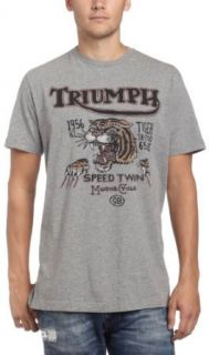 Lucky Brand Mens Triumph Speed Tiger T Shirt, Heather Grey