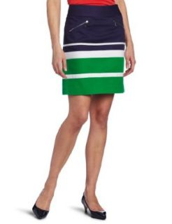 AK Anne Klein Womens Petite Colorblock Mini Skirt, Kelly