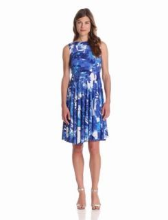 Isaac Mizrahi New York Womens Printed Fit And Flare Dress