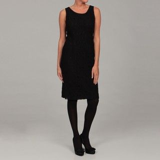 Kasper Womens Black Floral Lace Dress