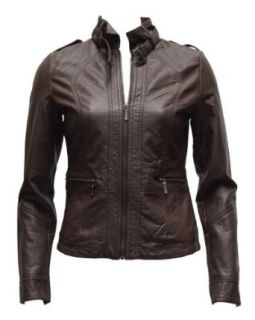 Ladies Brown Synthetic Leather Jacket Belt Strap Collar