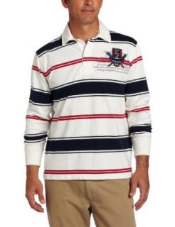 Nautica Mens Long Sleeve Striped Rugby Shirt, Sail White