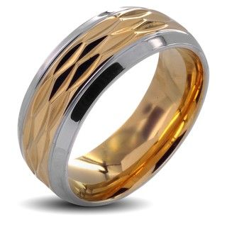 Stainless Steel Mens Polished Goldplated Grooved Center Wedding Band