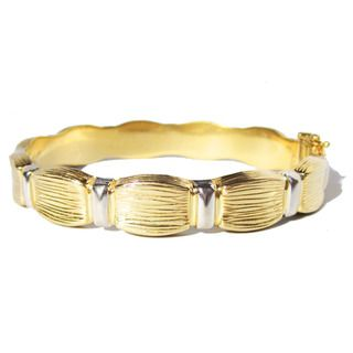 14k Two tone Gold Bamboo Estate Bangle Bracelet