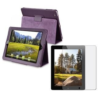 Leather Case/ Anti glare Screen Protector for Apple iPad 2