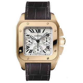 Cartier Santos 100 Rose Gold Mens Watch
