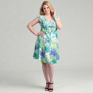 Jessica Howard Womens Plus Size Abstract Floral Shantique Dress
