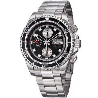 Kadloo Mens Vintage Trophy Black Dial Chronograph Automatic Watch