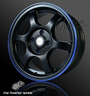 Spoke Racing Wheel Black W/ Blue Lip JDM Style Rim 15 Inch 5x114.3