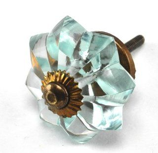 Arctic Blue Glass Melon Cabinet Knobs, Drawer Pulls, Handles, Hardware