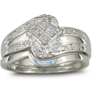 Sterling Silver 1/10ct TDW Diamond Bridal style Ring Set (J K, I2 I3
