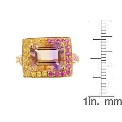 Yach 14k Yellow Gold Ametrine, Pink and Yellow Sapphire Ring