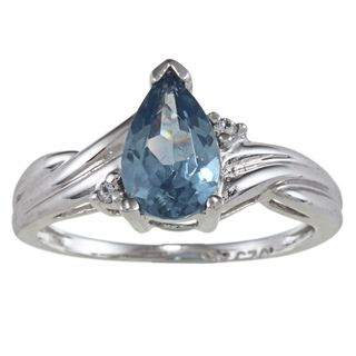 Sterling Essentials Silver Pear cut Blue and White Cubic Zirconia Ring