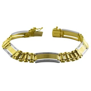 14k Two tone Gold Mens Designer Bracelet