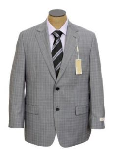 Michael Kors Mens 2 Button Flat Front Gray Plaid Wool Suit