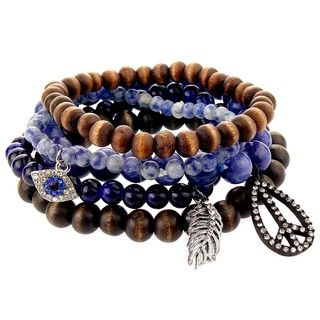 Brown/ Blue Bead Peace, Evil Eye and Feather Stretch Bracelet Set