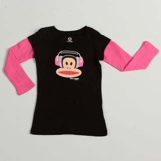Paul Frank Girls Black/ Pink Monkey Face Top