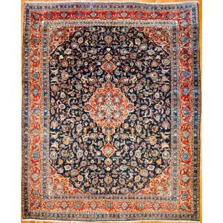 Persian Hand knotted Sarouk Navy/ Orange Wool Rug (101 x 124