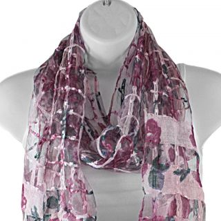 Hand woven Silk Grape Roses on Lattice Scarf (India)