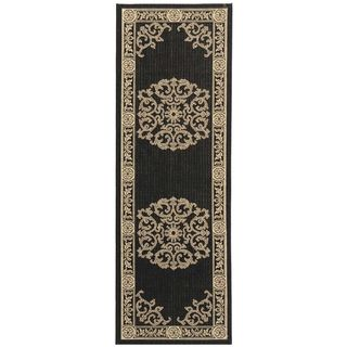 Safavieh Black/ Sand Indoor Outdoor Rug (22 x 14)