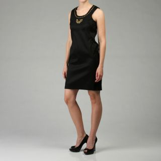 110 West Womens Black Stretch Taffeta Dress