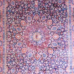 Persian Hand knotted Tabriz Navy/ Orange Wool Rug (113 x 165