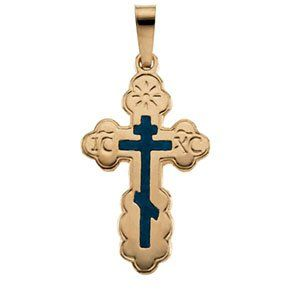 14k Yellow Gold Orthodox Cross Pendant Blue Inlay 19x13mm