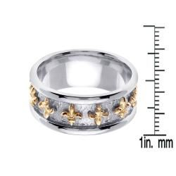 14k Two tone Gold Mens Fleur de Lis Wedding Band