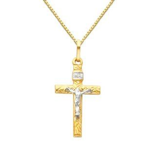 14K Yellow and White Gold 2 Two Tone Gold Crucifix Cross