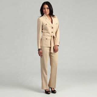 Kasper Womens Khaki Three button Pant Suit