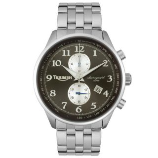 Triumph Motorcycles Mens Black Dial Chronograph Steel Watch