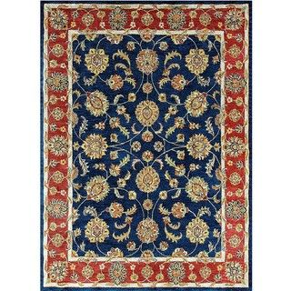 Hand tufted Genus Blue/ Red Wool Rug (5 x 76)