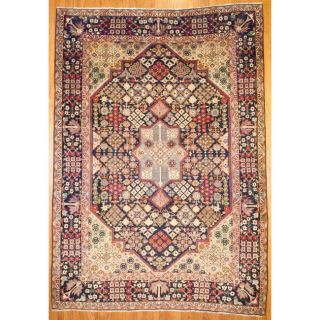 Persian Hand knotted Kashan Navy Wool Rug (910 x 1311)