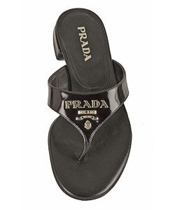 Prada Black Leather Flat Logo Sandal