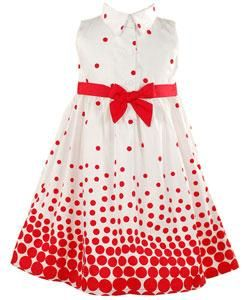 BT Kids Infant Girls Sleeveless Red Polka dot Dress