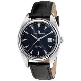Revue Thommen Mens Heritage Black Leather Strap Automatic Watch