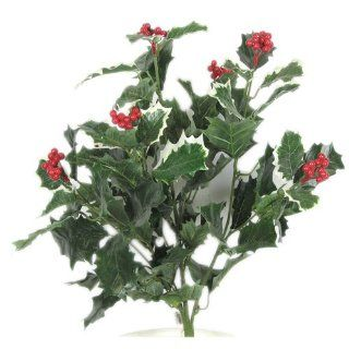 20 ARTIFICIAL SILK HOLLY BUSH GREEN/VARIEGATED 206