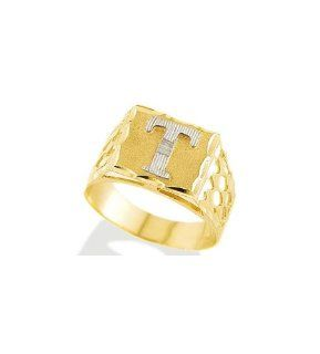 New 14k Two Tone Gold Diamond Cut Letter T Initial Ring Jewelry