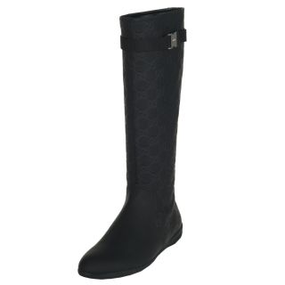 Gucci Womens Black Leather Knee high Boots