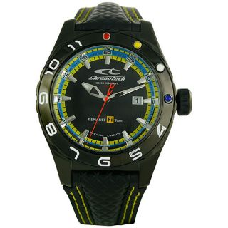 Chronotech Mens F1 Celebration Black Dial Leather Strap Watch