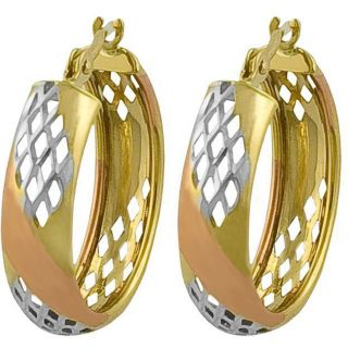 Fremada 10k Tri color Gold Diamond cut Hoop Earrings