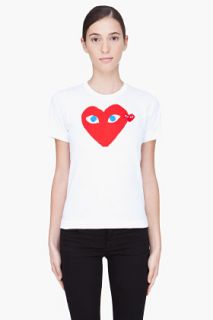 Comme Des Garçons Play  White And Red Heart T shirt for women