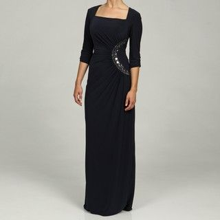 Adrianna Papell Evening Womens Drape Long Dress