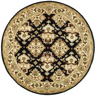 Handmade Heritage Traditions Black/ Ivory Wool Rug (6 Round