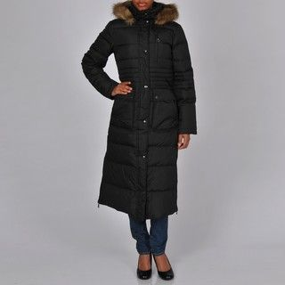 DKNY Womens Black Quilted Down Full length Zip front Hooded Coat