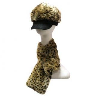 Cheetah Animal Printed Ultra Plush Faux Fur Hat & Scarf