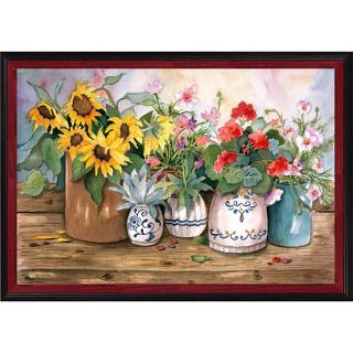 Marilyn Murphy Porch Flowers Black/ Red Framed Canvas Art