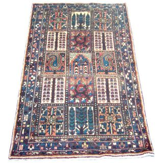 Iranian Hamadan Hand knotted Brown/ Navy Persian Rug (47 x 77
